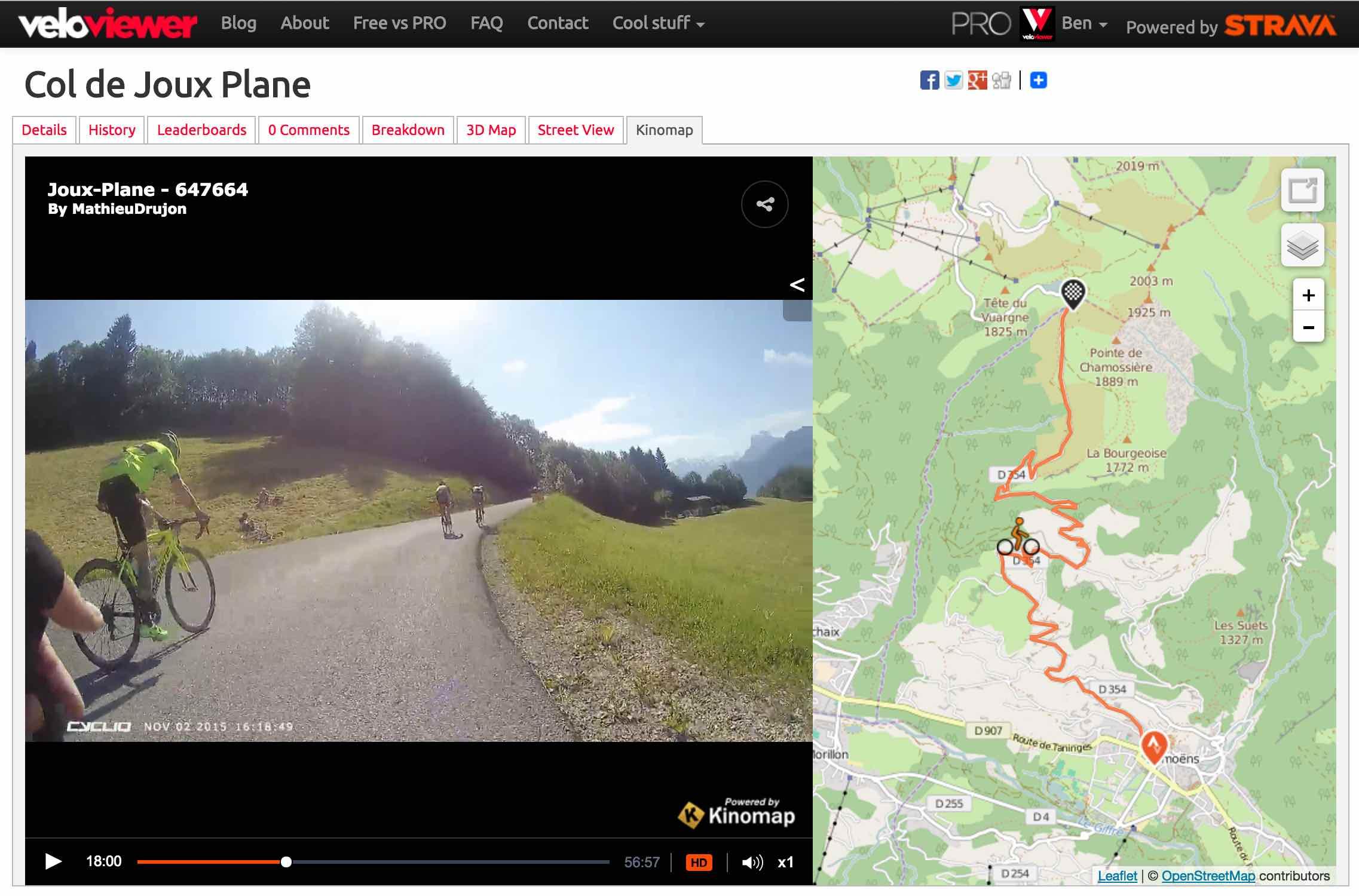 Kinomap Video Integration for Strava Segments on VeloViewer