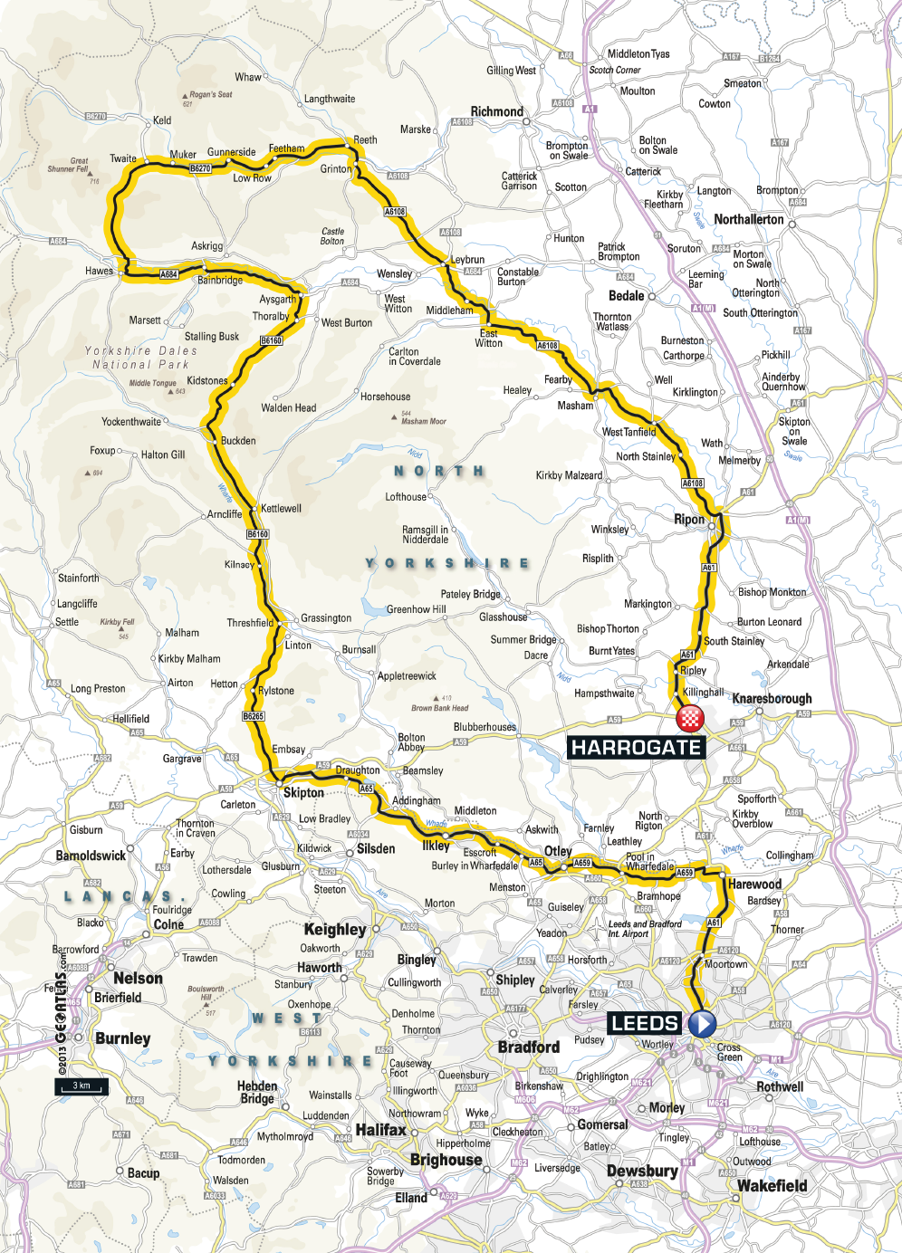 Tour de France 2014 Stage 1 Route Map